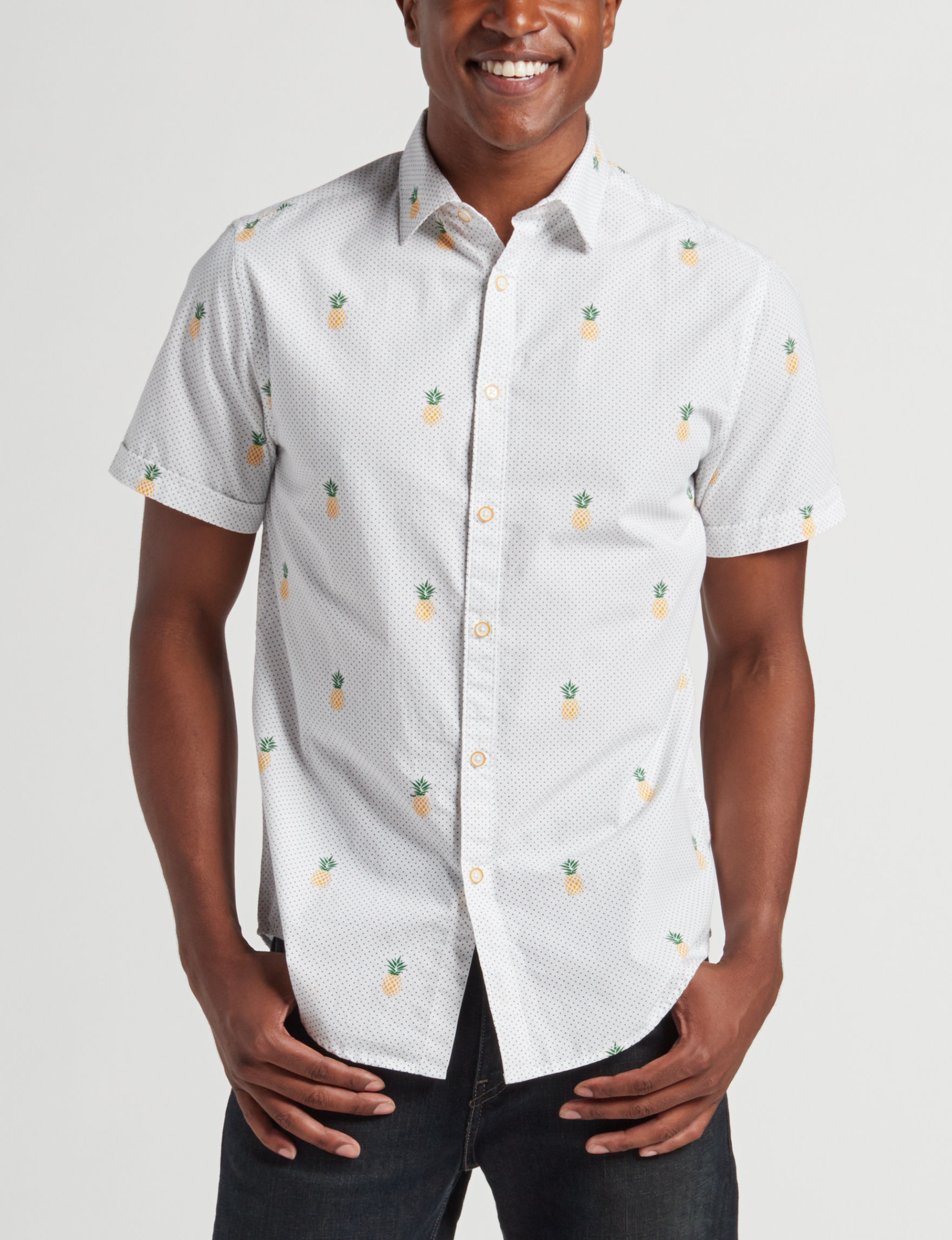 Cactus Man White Casual Button Down Shirts