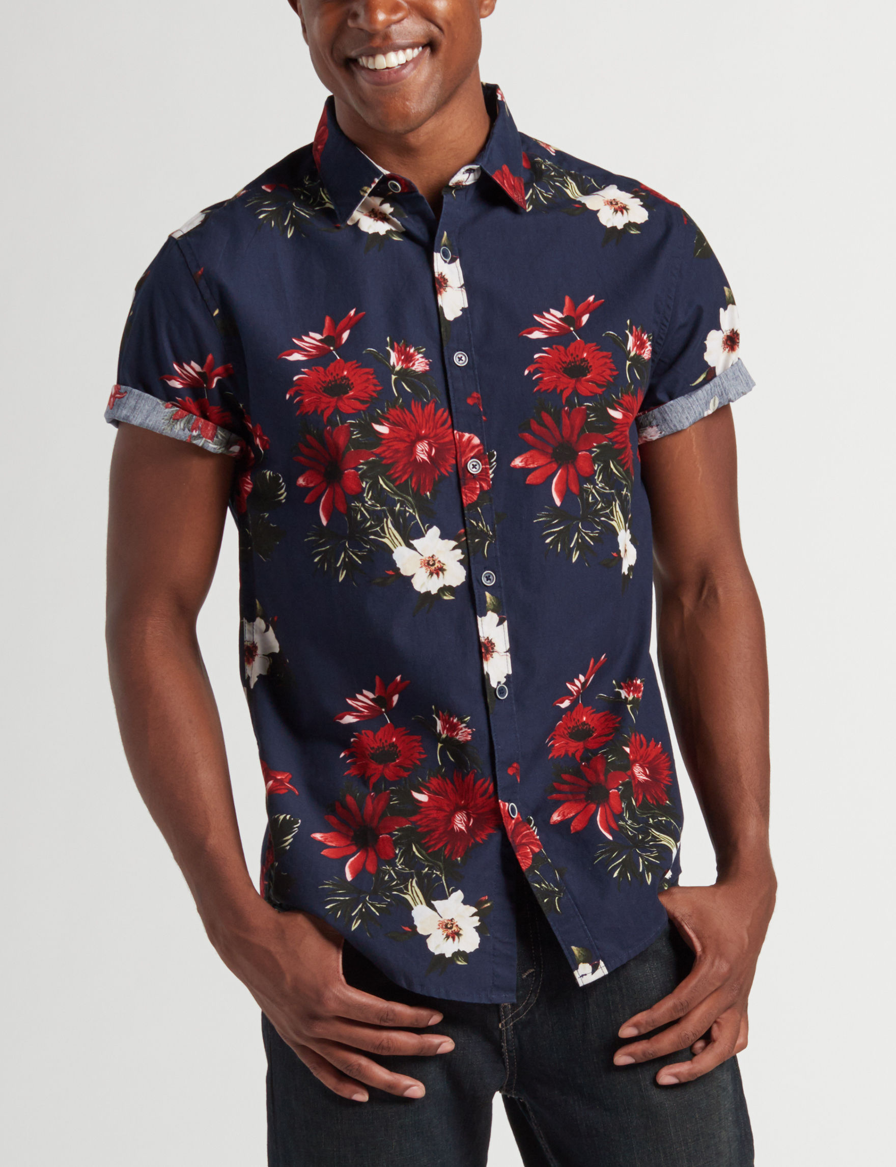 Cactus Man Navy Floral Casual Button Down Shirts