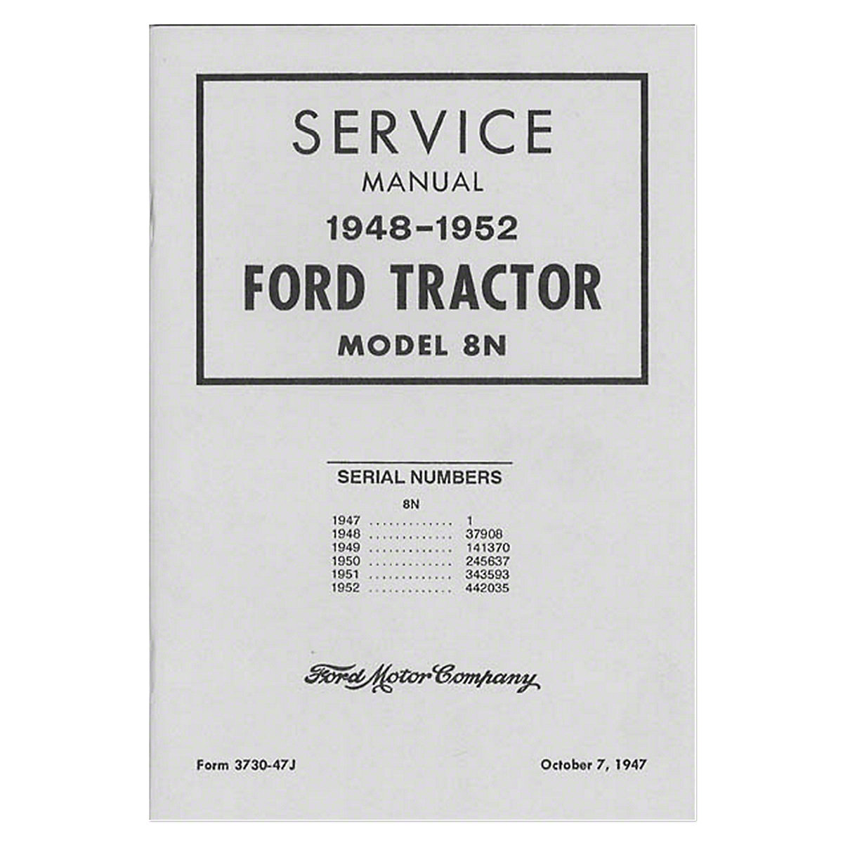 Bok040 Ford 8n Operators Manual Repr 1948 Tractor Wiring Diagram 1952 Shop Service Model