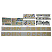 DEC440 - JD 420 - Yellow Vinyl Cut Decal Set For Green Hooded Tractors