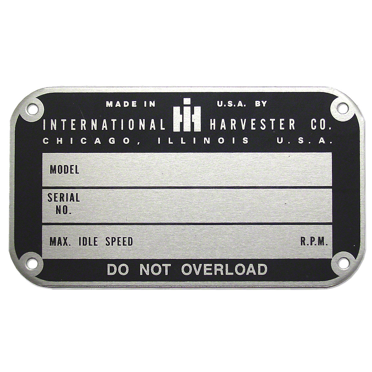 IHS289BLater Style Serial Number Tag (1950 And Up)