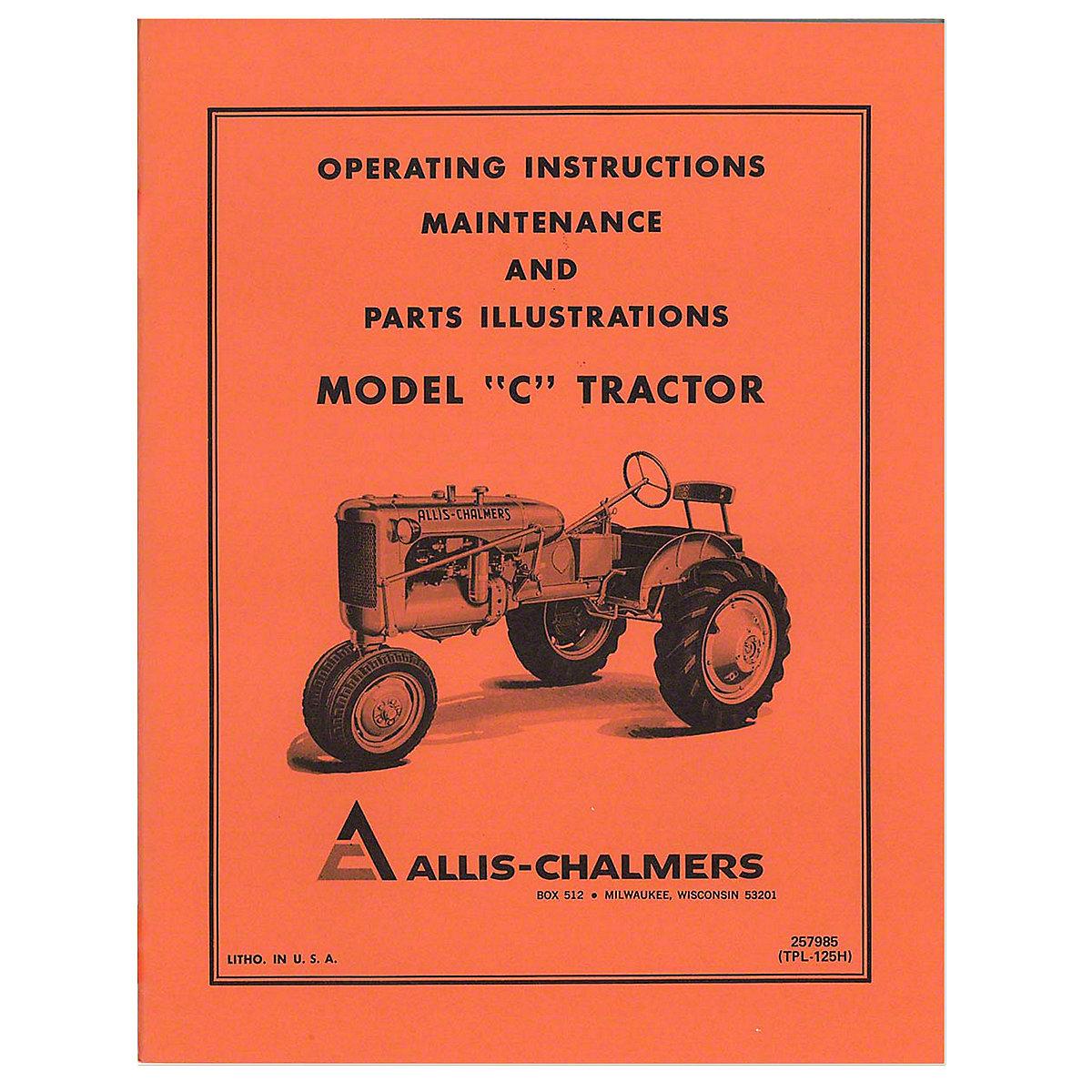 Ac B Parts Manual Allis Chalmers C Or Engine Diagram Operators