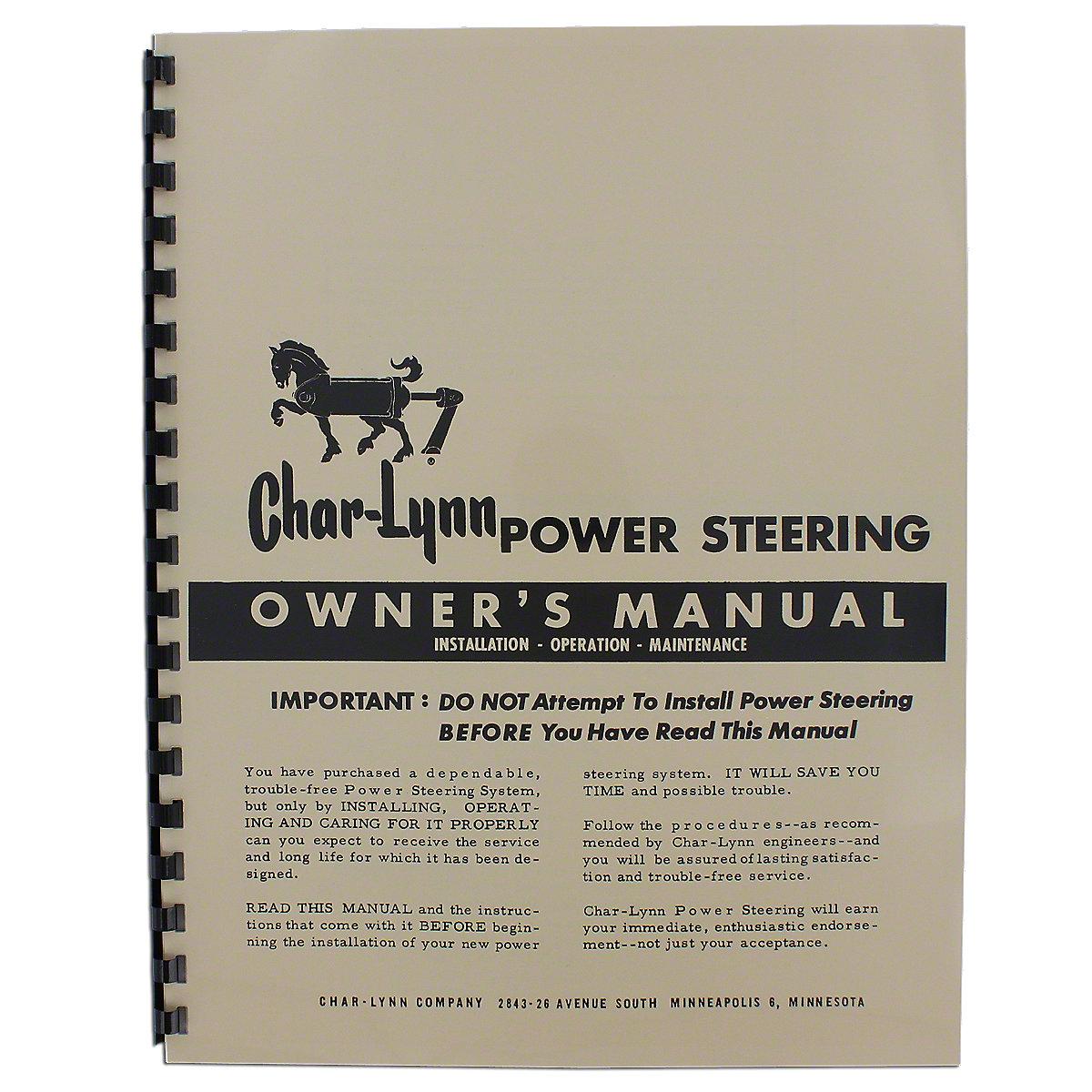 Char-Lynn Power Steering Owners Manual REP2643