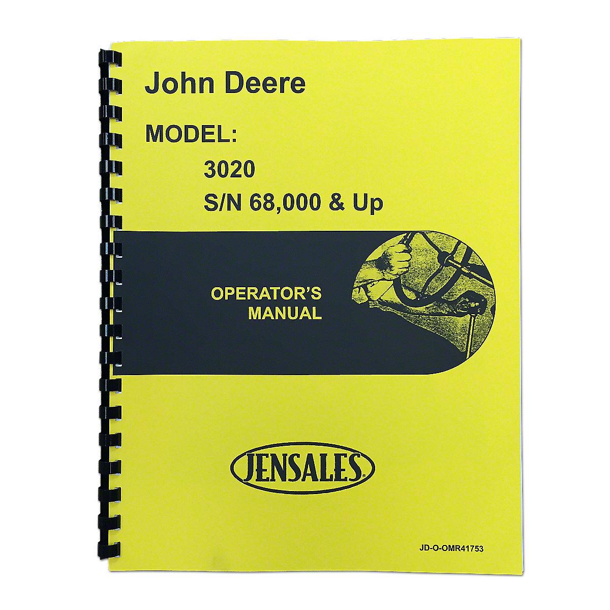 Restoration Quality Wiring Harness Jds3594 John Deere 3020 Operators Manual Reprint Jd Gas Diesel Serial Number 68000 And Higher