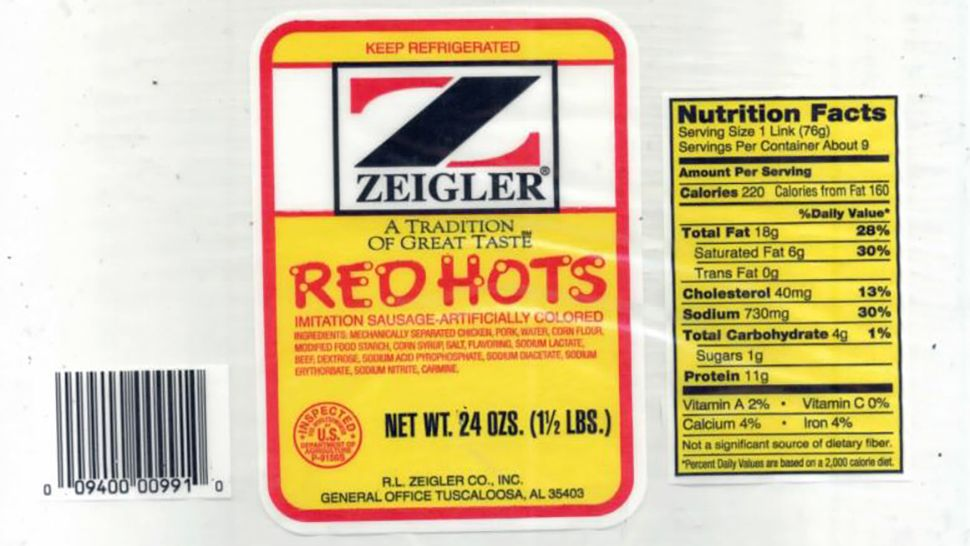 """24-oz. plastic packages containing approximately 9 links of 'ZEIGLER A TRADITION OF GREAT TASTE RED HOTS' with a 'Use By Jan 24 19' date,"" stated FSIS. (Photo courtesy of FSIS)"