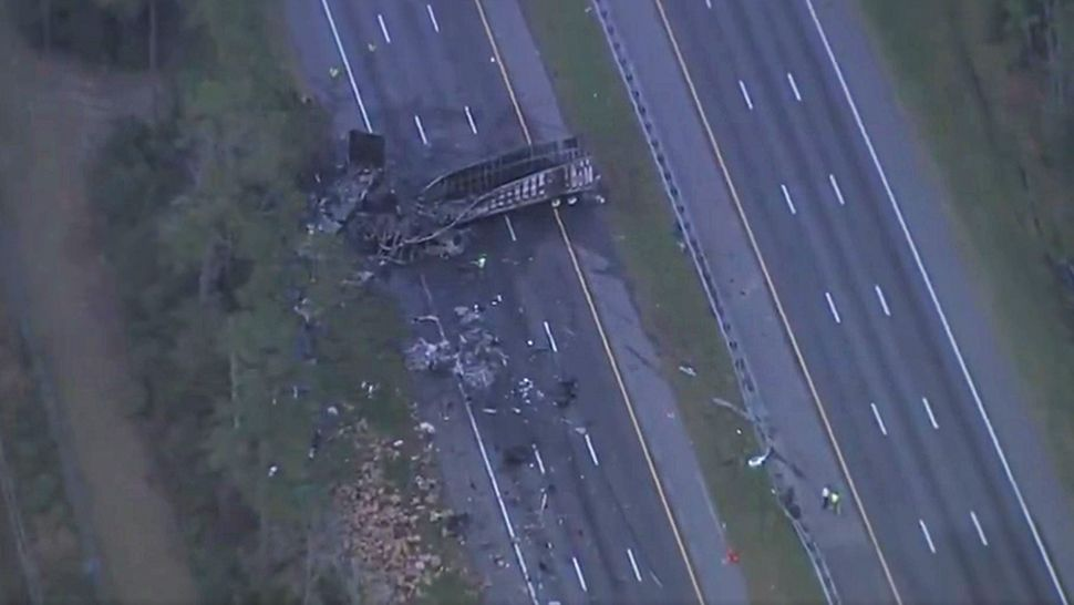 A major vehicle crash on Interstate 75 in north Central Florida killed 7 people and sent at least 6 to hospitals, authorities said. (Sky 13)
