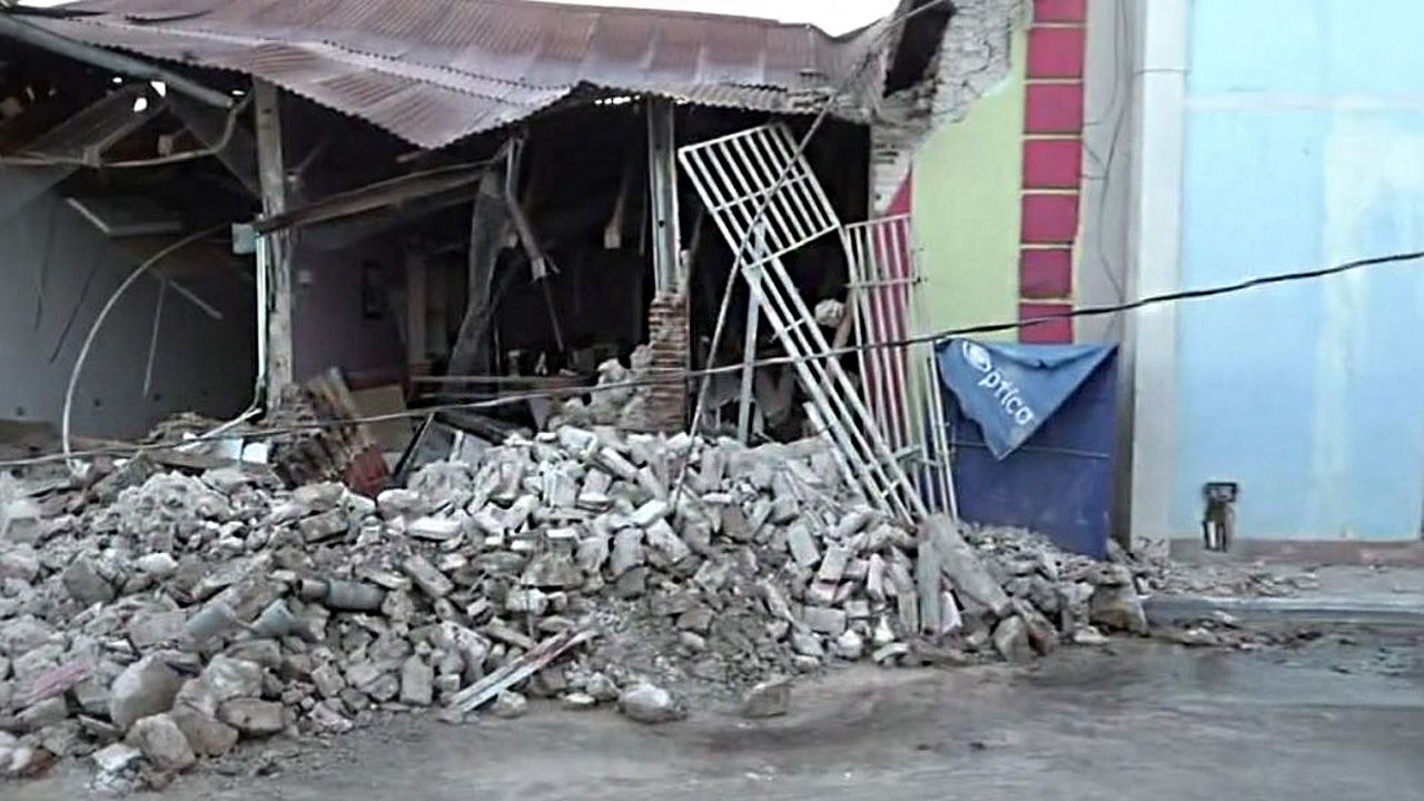 A home in Guanica suffered great damage after an earthquake struck Puerto Rico on Tuesday, January 7, 2020. (Photo courtesy of the family and friends of Felix J. Quirindongo Muniz)