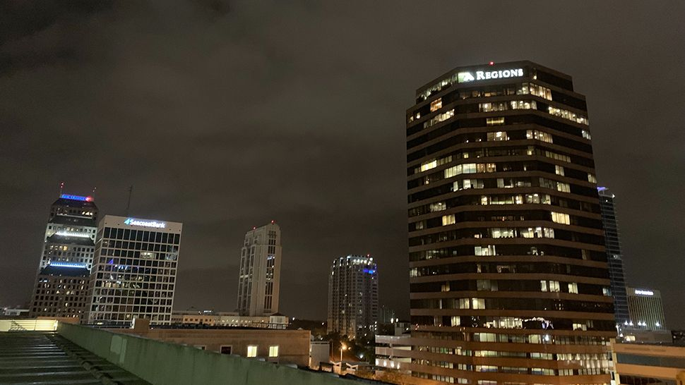 Rain clouds were seen over downtown Orlando on Thursday, January 24, 2019. (Anthony Leone/Spectrum News 13)