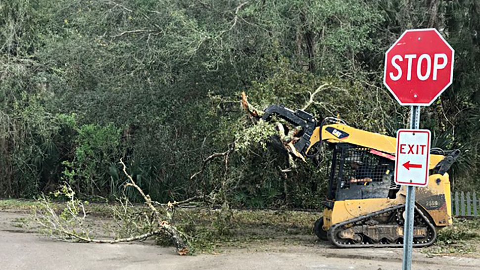 Central Florida Zoo & Botanical Gardens saw some damage after the storms on Thursday, January 24, 2019. (Arnie Girard III/Spectrum News 13)