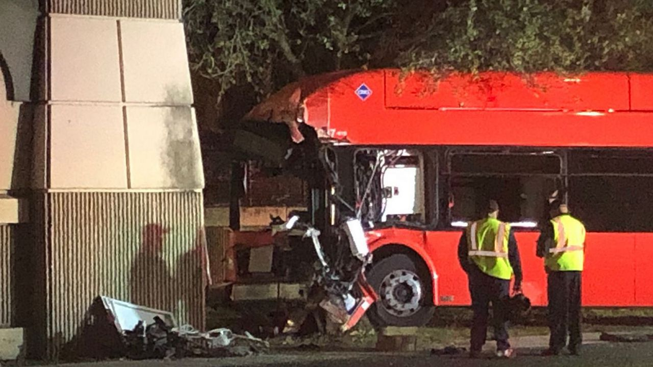 According to a witness, an unknown number of people were hurt after a LYNX bus and a car crashed into each other. (Jeff Allen/Spectrum News 13)