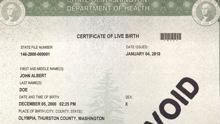 Washington State To Offer Third X Gender Option On Birth Certificates