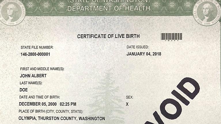 Washington state to offer third \'X\' gender option on birth certificates