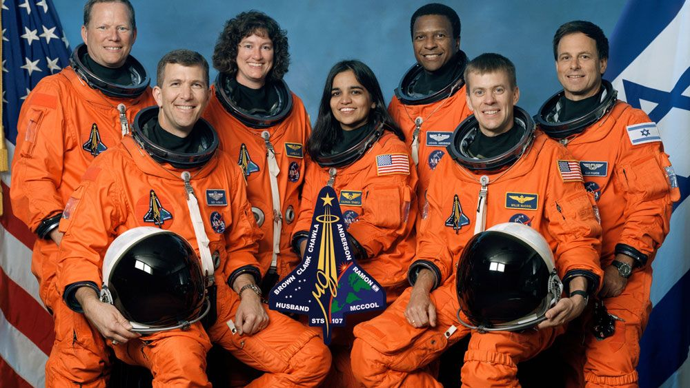 The crew of Space Shuttle Columbia, STS-107. Sitting, from the left: Commander Rick Husband, mission specialist Kalpana Chawla, pilot William McCool. Standing, from the left: Mission specialists David Brown, Laurel Clark and Michael Anderson, and payload specialist Ilan Ramon. (NASA)
