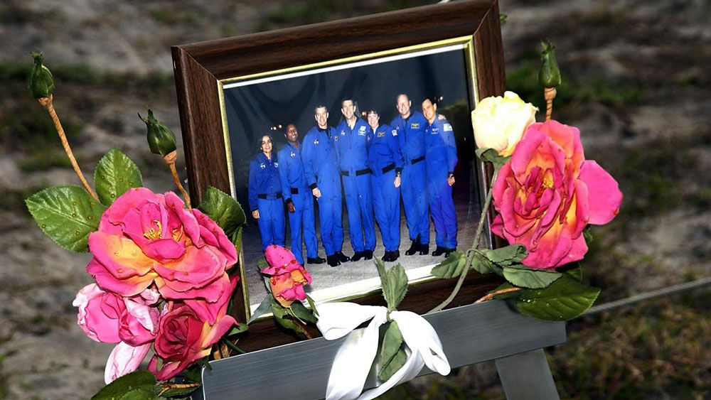 A makeshift memorial created by NASA employees at Kennedy Space Center, after Columbia broke apart. (NASA)