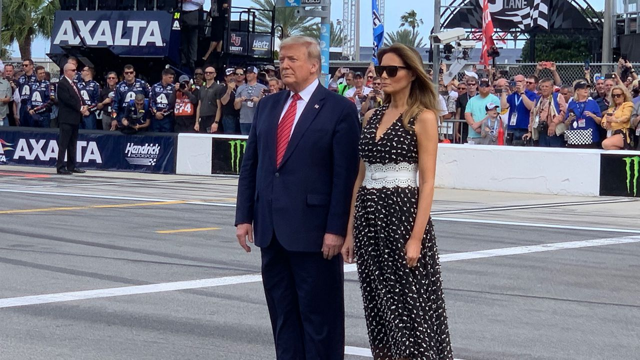 President Trump and first lady Melania at the Daytona 500. (Greg Angel, Spectrum News)