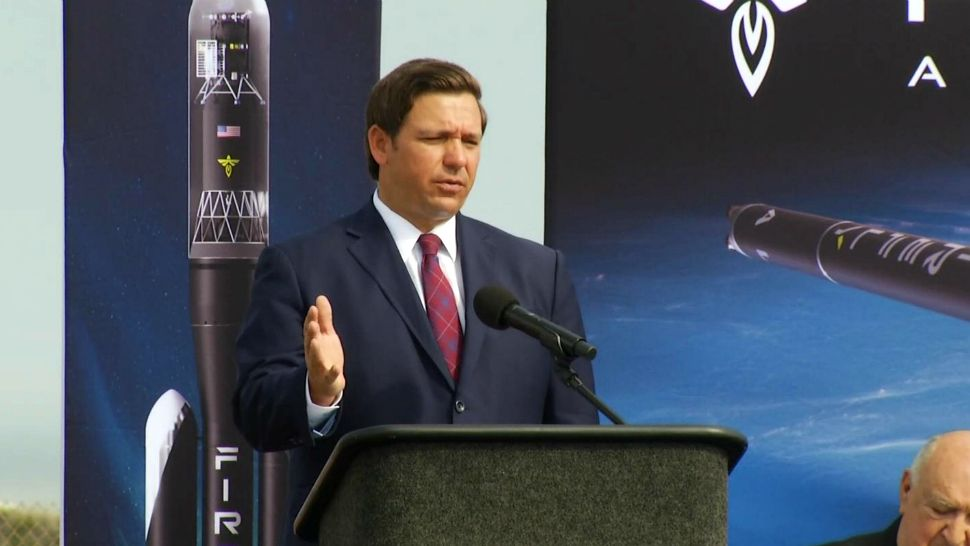 At an appearance at Cape Canaveral Air Force Station on Friday, Gov. Ron DeSantis announces that a new space manufacturing project will be coming to the Space Coast that will bring more than 200 jobs to the area. (Jonathan Shaban/Spectrum News)