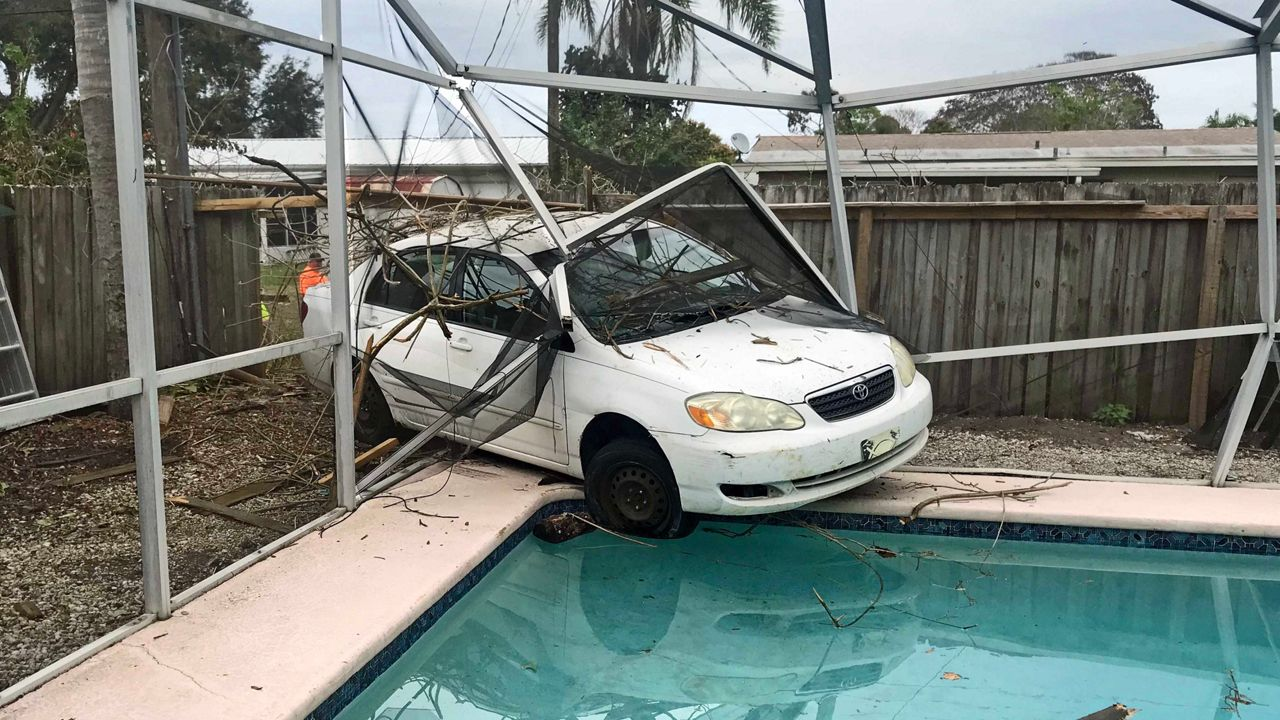 A man crashed into a neighbor's pool in Melbourne after his nephew said he meant to hit the brake on his car.