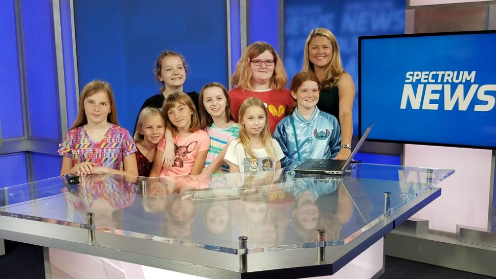 Homeschooled students from Brevard County tour the Spectrum News 13 studios on Tuesday, February 26, 2019.