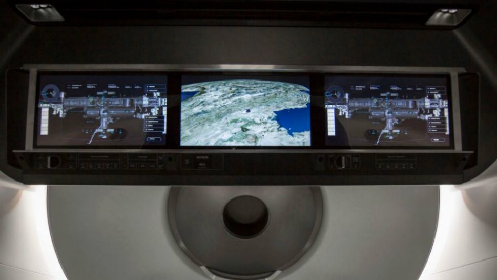 A heads-up display panel within the Crew Dragon. (SpaceX)