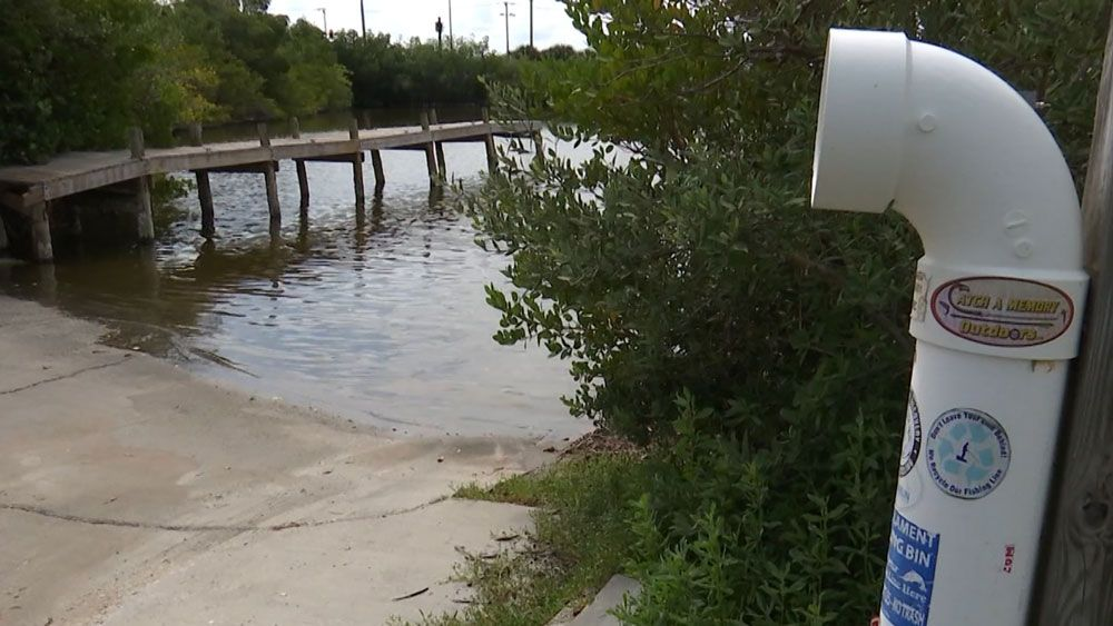 These white tubes are fishing line recycling bins. They can be found at locations throughout Florida, according to FWC. (Krystel Knowles, Spectrum News)