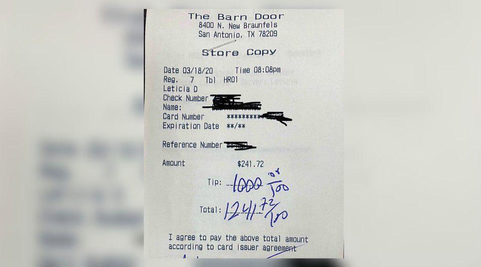 Customer Leaves 1k Tip At Sa Restaurant