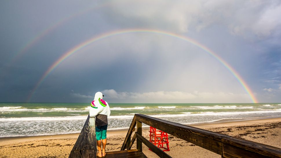 Sent to us via the Spectrum News 13 app: A brilliant double rainbow over Satellite Beach on Tuesday, April 24, 2018. (Marcus Cote, viewer)