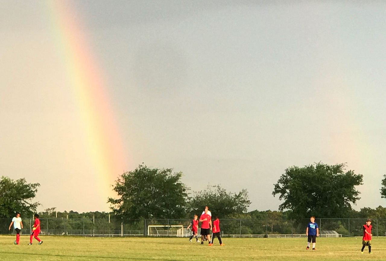 Sent via Spectrum News 13 app: A double rainbow after the rain in Apopka Tuesday at Jason Dwelley Field of Fame.