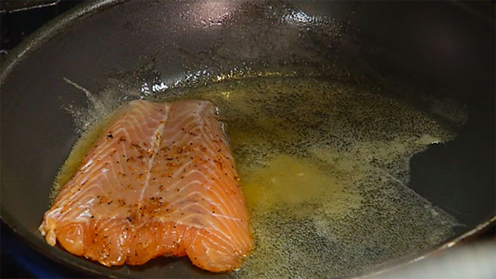 The secret to this salmon is searing over a sesame-soy mixture.