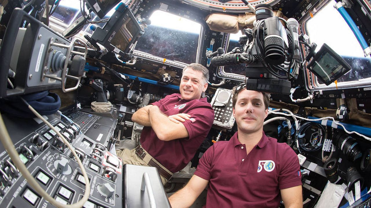 SpaceX Crew Dragon-2 team members Shane Kimbrough (left) and Thomas Pesquet have worked together previously on Expedition 50 in 2016, when they robotically captured the Japanese HTV-6 cargo craft. (NASA)