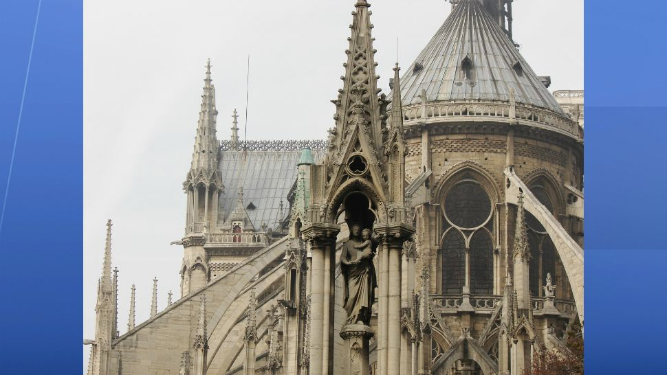 Notre Dame cathedral, with its gothic architecture, is one of the most visited sites in France. This was taken before a fire erupted Monday, April 15, 2019, causing catastrophic damage. (Tim Robertson/Spectrum News)