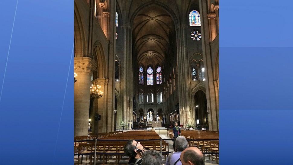 Notre Dame cathedral, with its gothic architecture, is one of the most visited sites in France. This was taken before a fire erupted Monday, April 15, 2019, causing catastrophic damage. (Kate Fox/Spectrum News)