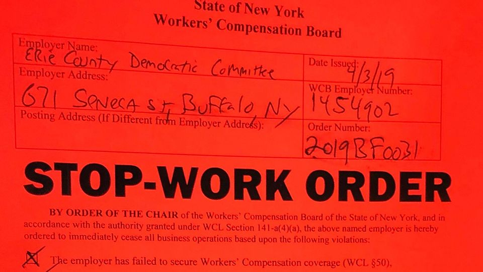 Order Posted on Erie County Democratic Committee HQ