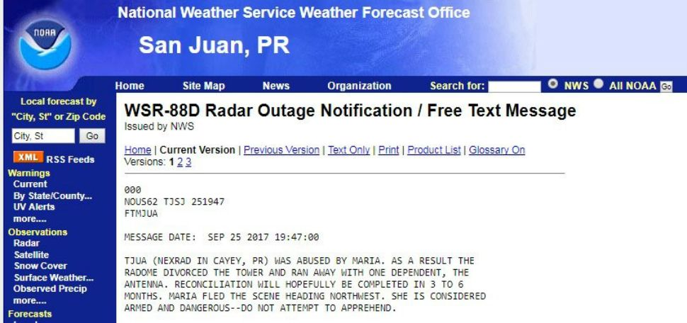 Light-hearted NWS Statement (making the best of a bad situation)