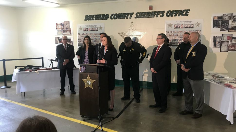 Florida Attorney General Ashley Moody speaks during a news conference Wednesday to announce the seizure of opioid drugs, cash, and weapons as part of one of the largest drug investigations in the history of Brevard County. (Greg Pallone/Spectrum News 13)