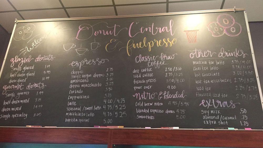 The menu board at Donut Central in Winter Park. (Christie Zizo, Staff)