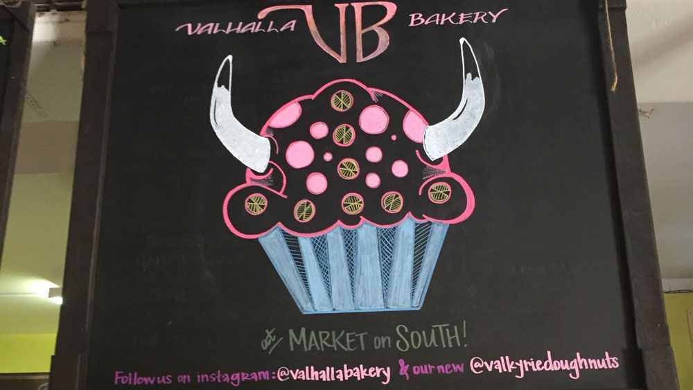 The sign for Valhalla Bakery at Market on South in Orlando. (Christie Zizo, Staff)