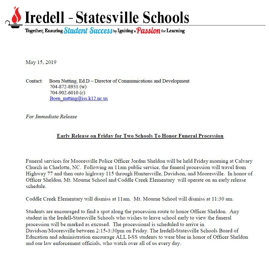 Iredell-Statesville Schools to Release Early Friday