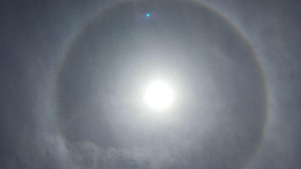 Prominent sun halo seen over North Redington Beach on Thursday afternoon.