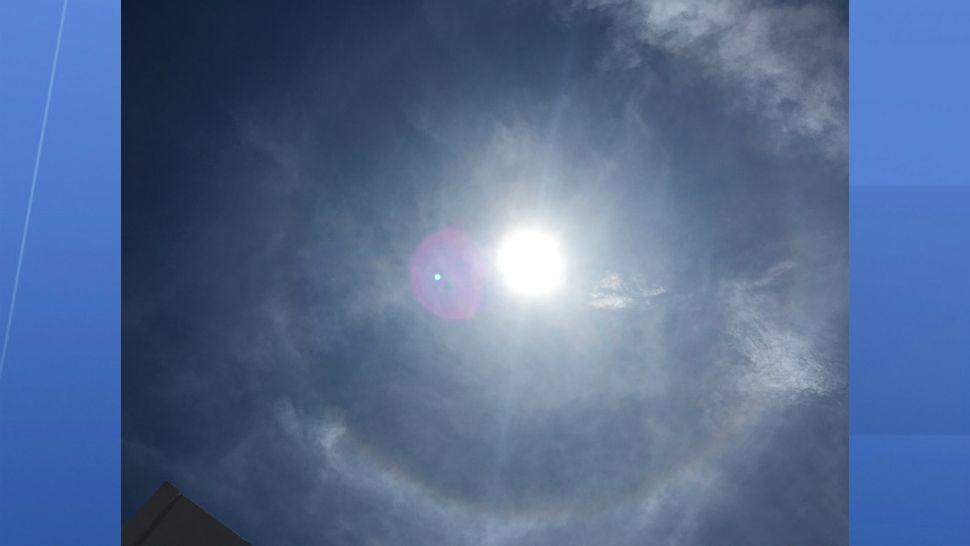 Sun halo seen over downtown Orlando on Thursday.