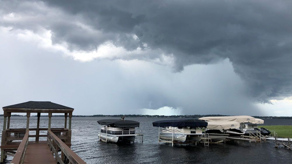 Sent to us via the Spectrum News 13 app: Dark clouds over Lake Minneola in Clermont, Tuesday, May 15. (Heather Russell, Viewer)