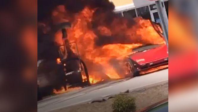 Walmart Gas Station Near Me >> Lamborghini Suv On Fire At Walmart Gas Station