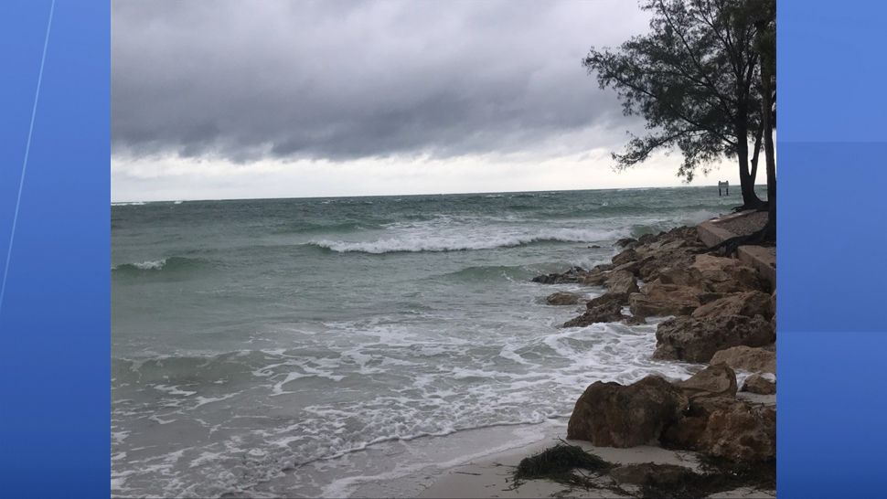 Coquina Beach seeing some flooding and dark clouds ahead of Alberto on Sunday, May 27, 2018 at 8 a.m. (Angie Angers, staff)