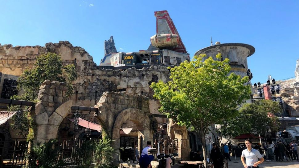 Star Wars: Galaxy's Edge at Disneyland in Anaheim, California will be largely just like the one at Disney World, which opens in August. The main difference is due to geography — the two lands will have different entrance points. (Ashley Carter/Spectrum News)