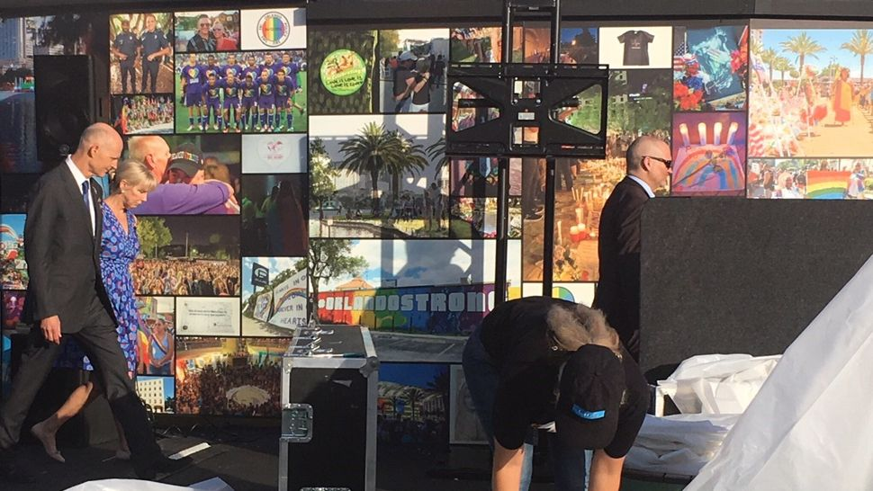 Gov. Rick Scott appeared at the Pulse memorial on Tuesday, June 12, 2018, two years after the shooting that left 49 people killed and dozens injured. Scott has proclaimed June 12 as Pulse Remembrance Day. (Jerry Hume, staff)