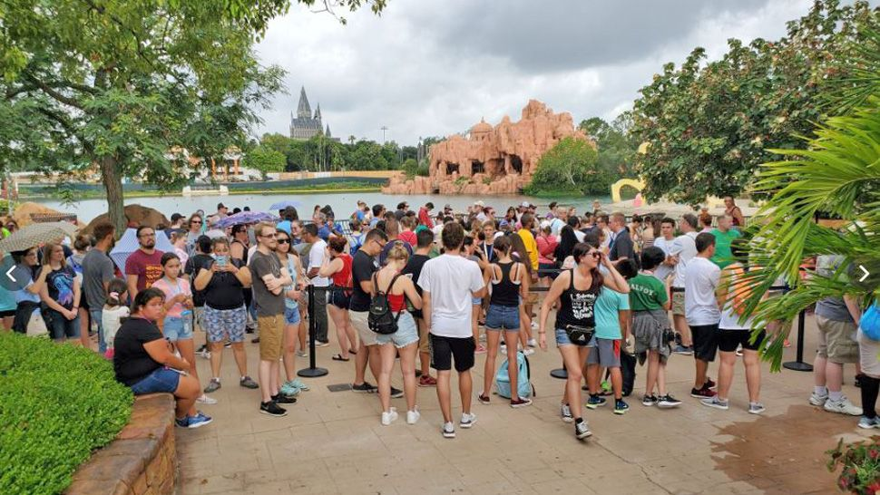 People are in line for Hagrid's Magical Creatures Motorbike Adventure and the wait is expected to be 10 hours long as of 9:52 a.m., Thursday, June 13, 2019. (Ashley Carter/Spectrum News)