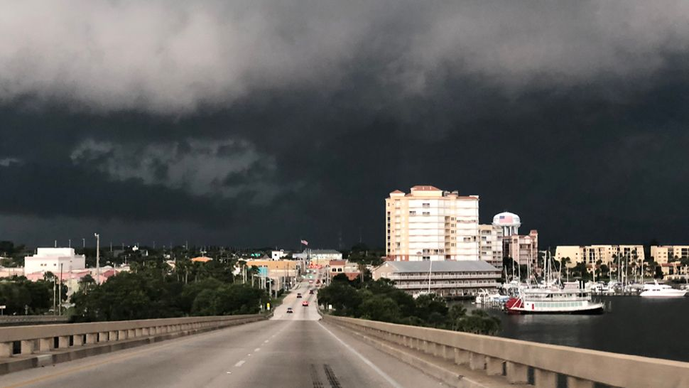 A view of the storms moving into Brevard County from Merritt Island Causeway on Thursday, June 14, 2018. (Christine Rodriguez, viewer)