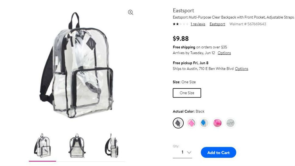 96f4c4d620 Clear backpacks like this one sold at Walmart will be required for students  at NEISD for