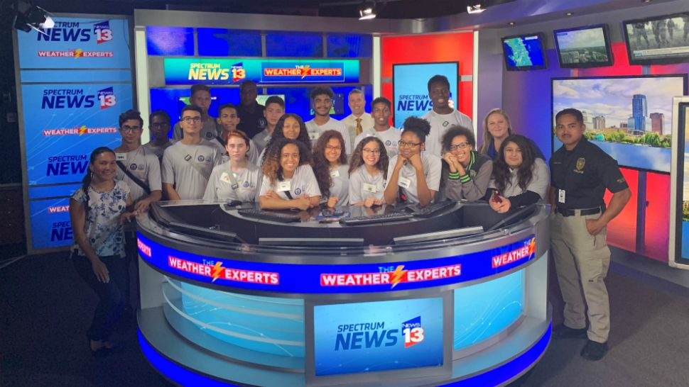 Members of the Orlando Teen Police and Fire Academy visit Spectrum News 13 on Monday, June 10, 2019.