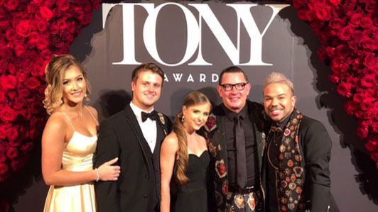 "Dr. Jeffrey Grove (second from right) and his family at the Tony Awards. The musical he worked on, ""Once on This Island"", was nominated for eight awards and won Best Revival of a Musical."