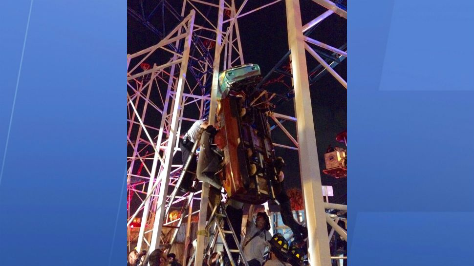 Fire rescue crews are rescuing riders from a roller coaster car that derailed at Daytona Beach Boardwalk. (Daytona Beach Fire Rescue)